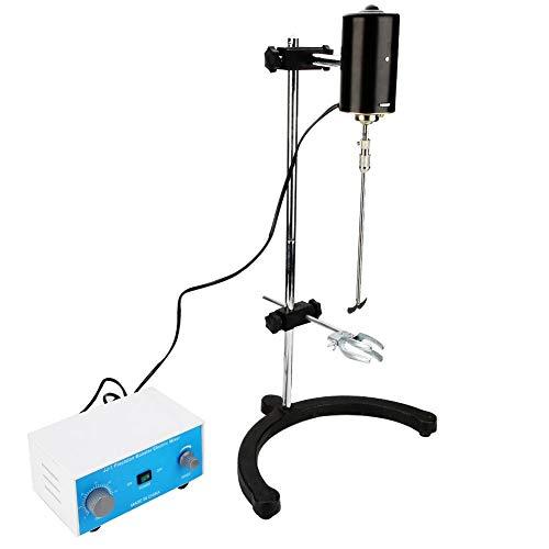Elektrischer Overhead-Rührermischer,100W 0-2400 U/min Rührer Variabler Drehzahl Labor Mechanischer Mischer Flüssigkeitsmisch-Heizmischer mit Zeitsteuerungsfunktion für Schulmetallurgie-Chemikalien(EU)