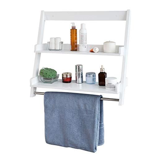 SoBuy FRG117-W Wandregal Handtuchhalter Badregal zur Wandmontage mit 2 Ablagen und einer Stange weiß