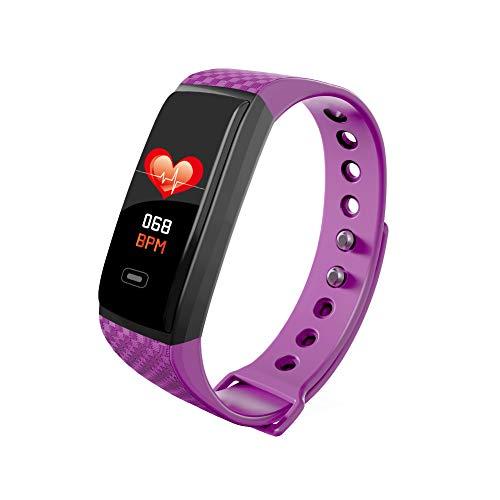 NBWS CK17S - Reloj inteligente con Bluetooth, podómetro, notificación de mensajes, fitness, alarma, monitor de presión arterial, frecuencia cardíaca, silicona impermeable, color morado