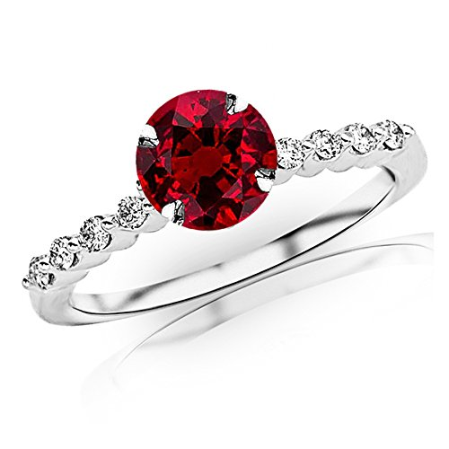 0.65 Carat t.w 14K White Gold Floating Prong Set Round Diamond Engagement Ring w/a 0.5 Carat Round Cut Red Ruby Heirloom Quality