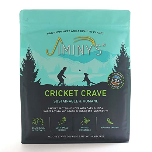 Jiminy's Cricket Crave Cricket Protein Oven-Baked Dog Food 10 lb Bag | 100% Made in The USA | Gluten-Free | Sustainable | Limited Ingredients | High Protein | Hypoallergenic