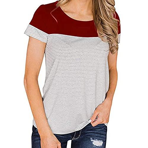 Blusa Mujer Cómodo Cuello Redondo Rayas Empalme Mujer Tops Generoso Casual Clásico Temperamento Transpirable Elasticidad Única Suave Mujer Camisa D-Red XL