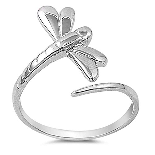 Oxford Diamond Co Sterling Silver Wraparound Infinity Style Dragonfly Open Ring Ring Size 4