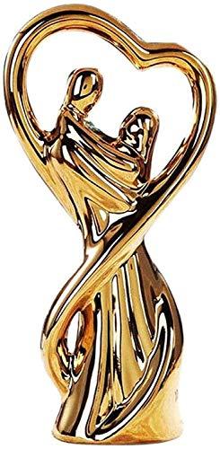 Desktop-Skulptur Abstrakte Paar Umarmung Skulptur Navia Minimalismus Figur Statue Galvanisieren Figuren Creative Keramik Möbel Kunst und Handwerk Dekoration Geschenke (Color : Gold)