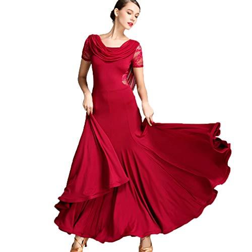 Professionelle Nationale Standard-Tanzkleider für Damen Mode Spitze Kurze Ärmel Elastische Stretch Tango Walzer Ballsaal Salsa Kleid Tanzbekleidung,Burgundy,L