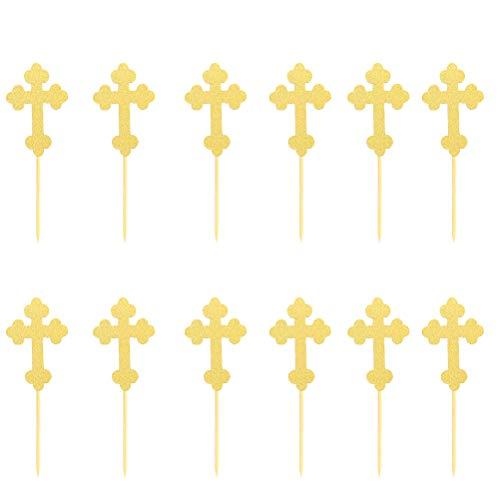 Fenical 24pcs Paper Glitter Cake Topper a Forma di Croce Cupcake Picks per Battesimo Battesimo Prima Comunione Baby Shower