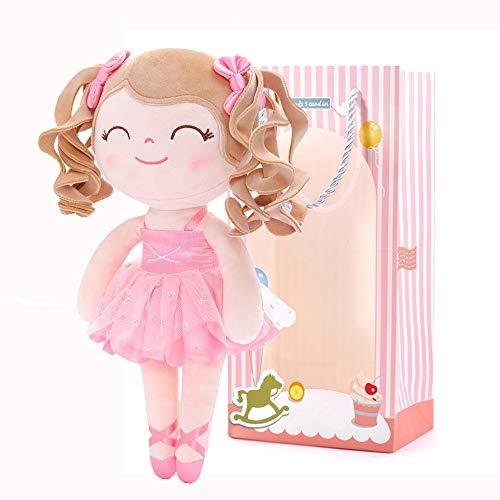 Gloveleya Bambola di Pezza Bambola di Peluche Bambole Morbida Bambolina Regali della Ragazza 35CM BorsaRegalo Rosa Ragazza Riccia