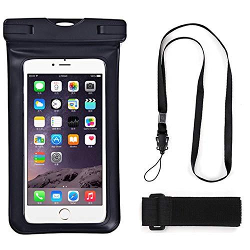 Universale wasserdichte Unterwasser-Handy-Tasche mit Umhängeband für iPhone 12, 12 Pro, 12 Pro Max, für Galaxy M12, Quantum 2, F12, F02s, A72, A52 5G, M62, F62, S21 Ultra 5G, Schwarz