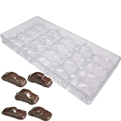 Molde de policarbonato transparente de 20 agujeros para coches, molde de barra de chocolate, manualidades, para repostería de dulces, hornear, molde para bandejas de hornear para boda, cumpl