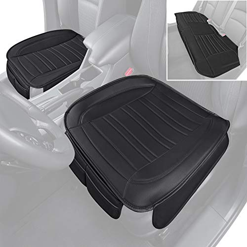 Motor Trend Black Universal Car Seat Cushions, Full Set Front and Rear Bench – Padded Luxury Cover with Non-Slip Bottom & Storage Pockets, Faux Leather Cushion Cover for Car Truck Van and SUV