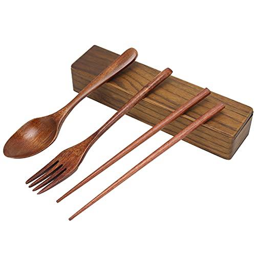 Juego de cubiertos de madera de 3 piezas, utensilios de viaje, cubiertos reutilizables portátiles, juego de vajilla, tenedor, cuchara, palillos con estuche para cocina, hogar, camping, picnic