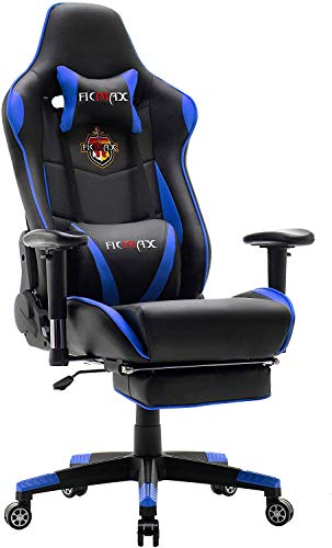 Ficmax Massage Gaming Chair Reclining Racing Home Office Chair High Back Gamer Chair with Footrest Memory Foam Gaming Computer Chair Gaming Desk Chair with Headrest and Lumbar Support chair gaming