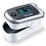 Beurer PO 40 Pulsioxímetro, medición de la saturación de oxígeno (SpO₂), frecuencia cardíaca (pulso) e índice de perfusión (PI), uso indoloro, pantalla a color