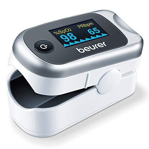 Beurer PO 40 Pulsoximeter, Messung von Sauerstoffsättigung (SpO₂), Herzfrequenz (Puls) und Perfusions Index (PI), schmerzfreie Anwendung, Farbdisplay