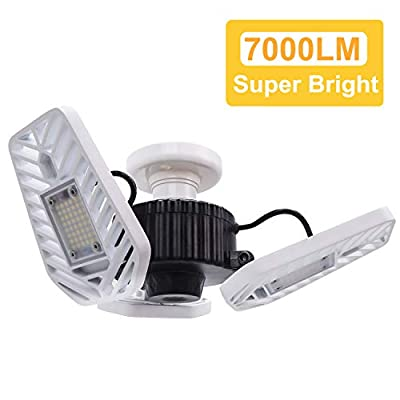 HUNHUN LED Garage Lights, Deformable LED Garage Ceiling Lights 7000 Lumens, 60W CRI 80 Led Shop Lights for Garage, Adjustable Garage Lights, Led Garage Lighting