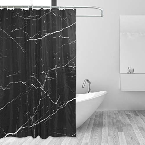 Bennigiry Schwarzer Marmor Duschvorhang Wasserabweisender Stoff Badvorhang Polyestergewebe Wasserabweisendes Duschvorhang-Set mit Haken für Badezimmer 152 x 182 cm