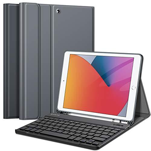 Fintie Tastatur Hülle für iPad 10.2 Zoll (8. und 7. Generation - 2020/2019), Soft TPU Rückseite Gehäuse Schutzhülle mit Pencil Halter, magnetisch Abnehmbarer Tastatur mit QWERTZ Layout, Himmelgrau