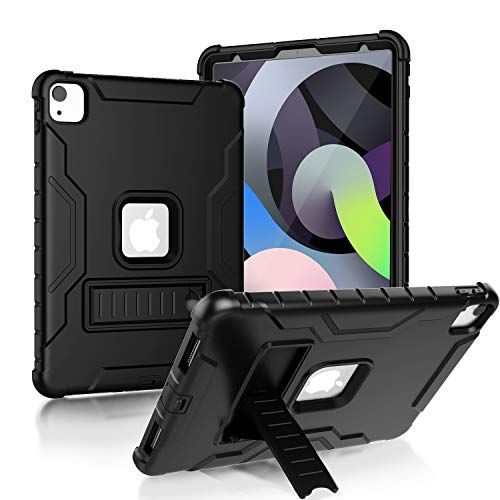 LTROP New iPad Air 4th Generation Case 10.9, iPad Air 4 Case 2020, iPad Air 10.9 inch Case, Built-in Screen Protector Full-Body Rugged Stand Cover Case for Apple iPad Air 4th Gen 10.9' - Solid Black