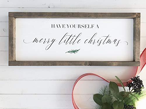 Ced454sy Schild mit Aufschrift Have Yourself a Merry Little Christmas Farmhouse, minimalistisches Weihnachtsschild, handbemalt