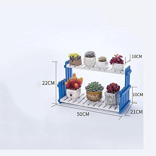 Plante Théâtre Salon Balcon sol mehrs töckige Fleurs Support Bois Massif Racks intérieur Plante étagères facile (couleur, Taille Facultatif) Idée Cadeau Jardiniers, bleu, 50 cm