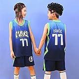 Jerseys De Baloncesto para Adultos para Niños, Dallas Mavericks # 77 Luka Doncic Jersey Trajes De Secado Rápido Camisetas Sin Mangas Sports Chalecos Y Pantalones Cortos,Azul,M(Child) 125~135CM