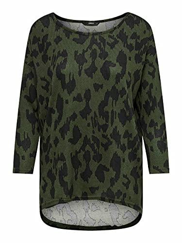 Only Onlelcos 4/5 AOP Top Jrs Noos Camiseta, Grape Leafaop: Black Animal, L para Mujer