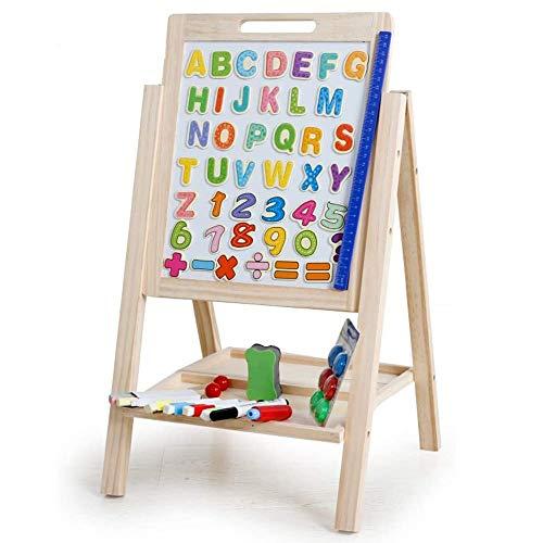 TRPYA houten design schildersezel, dubbele rand, 3 rijen verstelbaar, krijtbord & whiteboard Dry Erase oppervlak, magnetische spons, viltstiften, krijt en dienblad