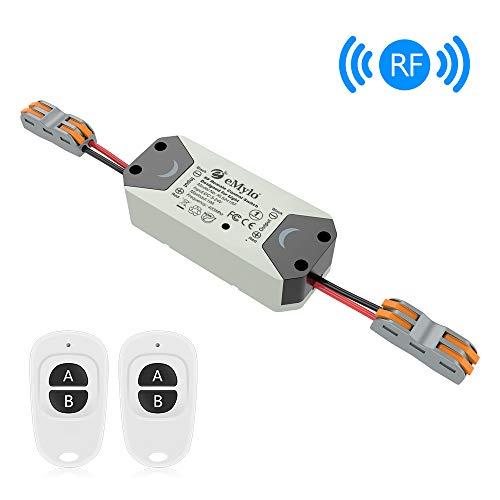 eMylo Smart Wireless Relay Switch DC 12V Modulo di relè RF Telecomando a 1 canale 5V-24V RF Switch Domotica 433Mhz con due trasmettitori 1 pacco