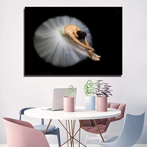 Pintura sin Marco Arte nórdico Bailarina Imagen póster Lienzo Pintura Mural en Blanco y Negro Sala de Estar dormitorioZGQ5600 30X60cm