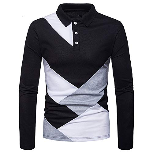 SALEBLOUSE Men's Color matching Lapel Button Down Stripe Long Sleeve Comfortable Breathable Cotton Fleece Shirt Mens Classic Outdoor Lightweight Pullover Sweatshirt Blouse Sweater Outwear Top Workwear