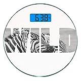Escala digital de peso corporal de precisión Ronda Estampado de cebra Báscula...