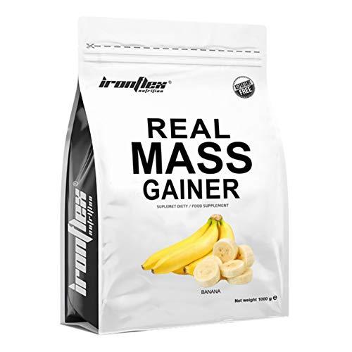 IronFlex Real Mass Gainer Paquete de 1 x 1000g - Ganador de Masa - Carbohidratos - Concentrado y Aislado de Proteína de Suero - Caseína Micelar - Crecimiento Muscular (Banana)