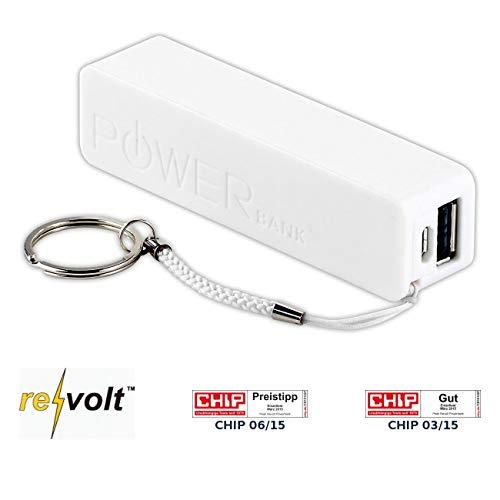 revolt Akku USB: Powerbank für iPhone, Handy & USB-Geräte, weiß, 2.200 mAh (Handy Akku extern)