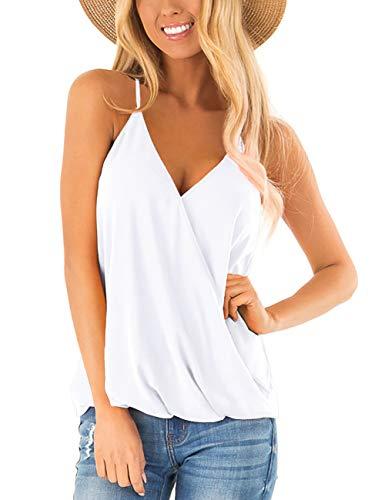 Aokosor White Tank Top for Women V Neck Spaghetti Strap Cami Summer Clothes Loose Tanks M