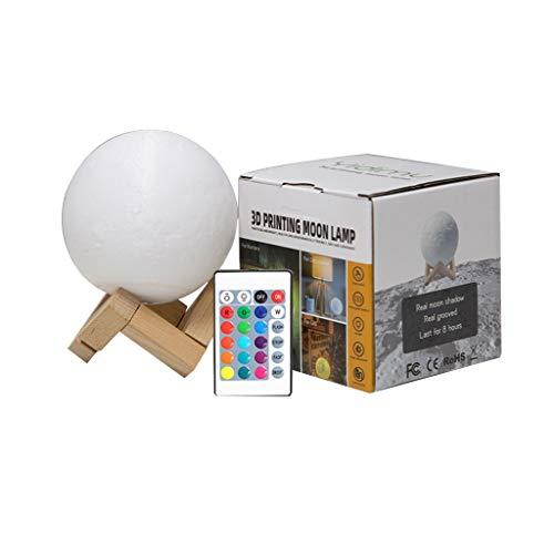 QFFL Lámpara de Luna Lámpara de Luna 3D de 16 Colores Exquisito Soporte USB Recargable Brillo Encendido/Apagado del Control Táctil Y del Control Remoto Luz de Noche de Luna LED para Regalo de Niños