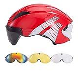 3 Lens Aero Goggles Bicycle Helmet Triathlon Cycling Helmet in-Mold Racing Safety Road Bike Helmet Red-White 4Lens L 57-61cm