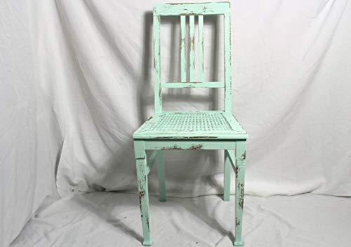 Shabby Stuhl alter grüner Jugendstil Holzstuhl mit Sitz Geflecht im Shabby Chic aus den 40er Jahre Vintage Möbel Shabby Chic Landhaus Country