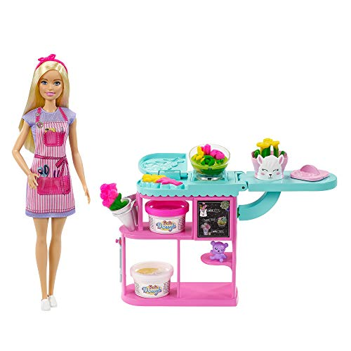 Barbie Florist Playset with 12-in Blonde Doll, Flower-Making Station, 3 Dough Colors, Mold, 2 Vases Teddy Bear, Great Gift for Ages 3 Years Old Up