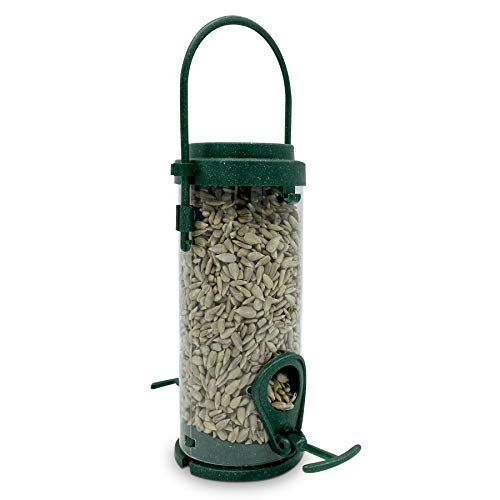 Eco Friendly Bird Feeder with Sunflower Hearts (Kernels) Included - Recycled Plastic Hanging Feeders for Garden Birds - Attracting Tits, Finches, Robins & many more Wild Birds