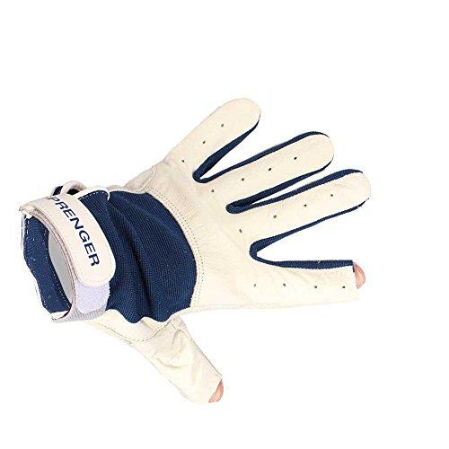 Sprenger Handschuhe aus Leder, Mechanikerhandschuhe, Arbeitshandschuhe, offen, blau-weiss