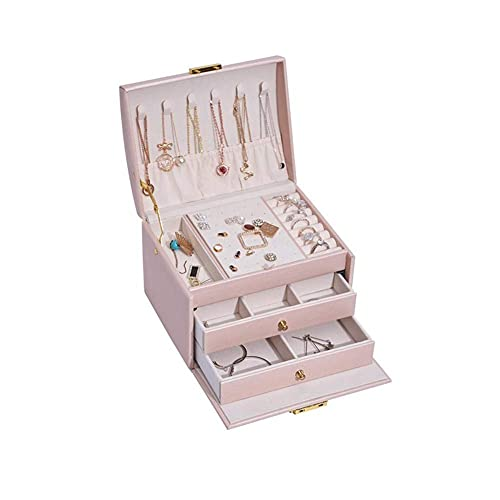 Jewellery Box Three Layers PU Leather Jewelry Storage Box with Handle and Lock Portable Necklace Earrings Rings Bracelets Jewellery Oganiser Travel Case for Girls and Women's Gift