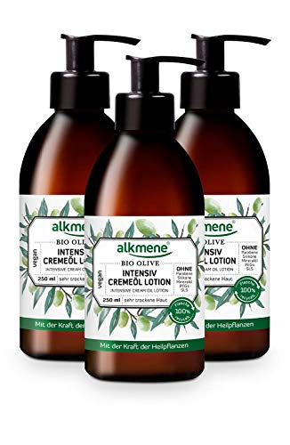alkmene Intensiv Cremeöl Lotion mit Bio Olive - Bodylotion für sehr trockene Haut - vegane Körperpflege ohne Silikone, Parabene, Mineralöl, PEGs, SLS & SLES - Körperlotion im 3er Pack (3x 250 ml)