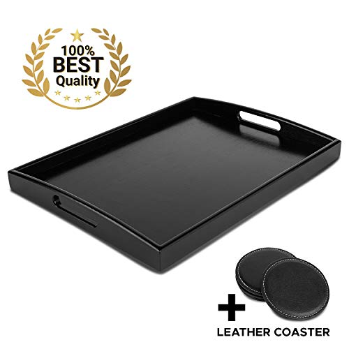 Decorative Black Wooden Bamboo Serving Tray Platter w/Handles For bed Breakfast Dinner, Ottoman Coffee Table, Parties, Food, Home, Bathroom, Appetizer, Drinks, Perfume, Cake (Large) COASTERS INCLUDED