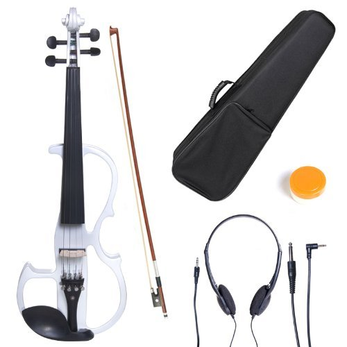 Cecilio CEVN-2W Style 2 Silent Electric Solid Wood Violin with Ebony Fittings in Metallic Pearl White, Size 4/4 (Full Size)
