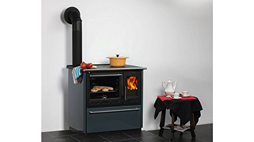 Globefire Festbrennstoffherd Aronia, Stahl blau, 8 kW, Dauerbrand, Backfach& Kochfeld Links