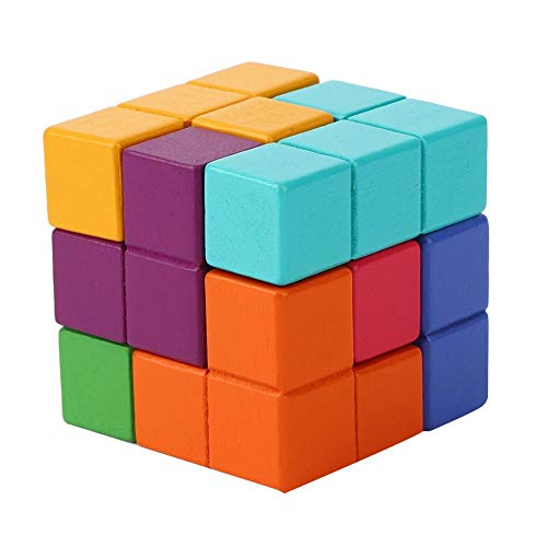 Auto-Baustein, glattes und zartes Qualitätsholzmaterial nicht leicht zu verblassen DIY-Baustein, Jungen für Kinder(Thinking Soma Rubik's Cube)