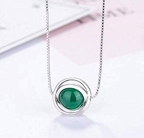 NC110 Collares Pendientes de Piedra Verde para Mujer Collar de Cadena de clavícula Corta YUAHJIGE