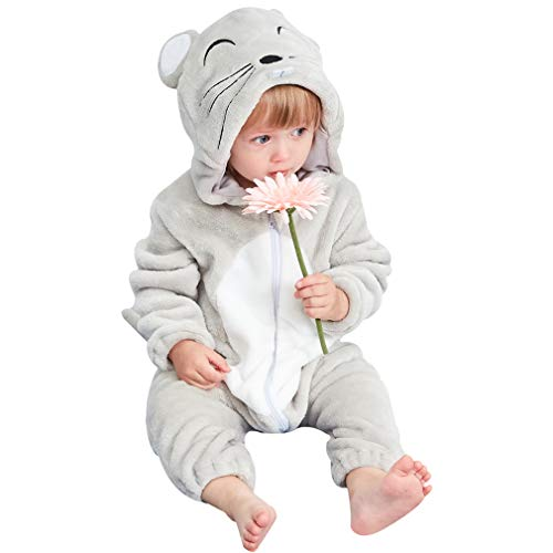 MICHLEY Newborn Baby Winter Hooded Romper Flannel Infant Jumpsuit Outfit, Mouse, 13-18months, Size 90