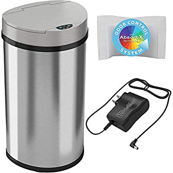 iTouchless 13 Gallon Semi-Round Extra-Wide Opening Sensor Touchless Trash Can with AC Adapter and Odor Control System Stainless Steel Silver Garbage Bin