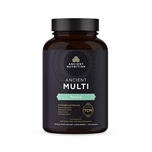 Ancient Multi Prenatal - Pregnancy Multi Vitamin & Immune Support, Adaptogenic Herbs, Ginger Extract, Methylated Folate, 90 Capsules